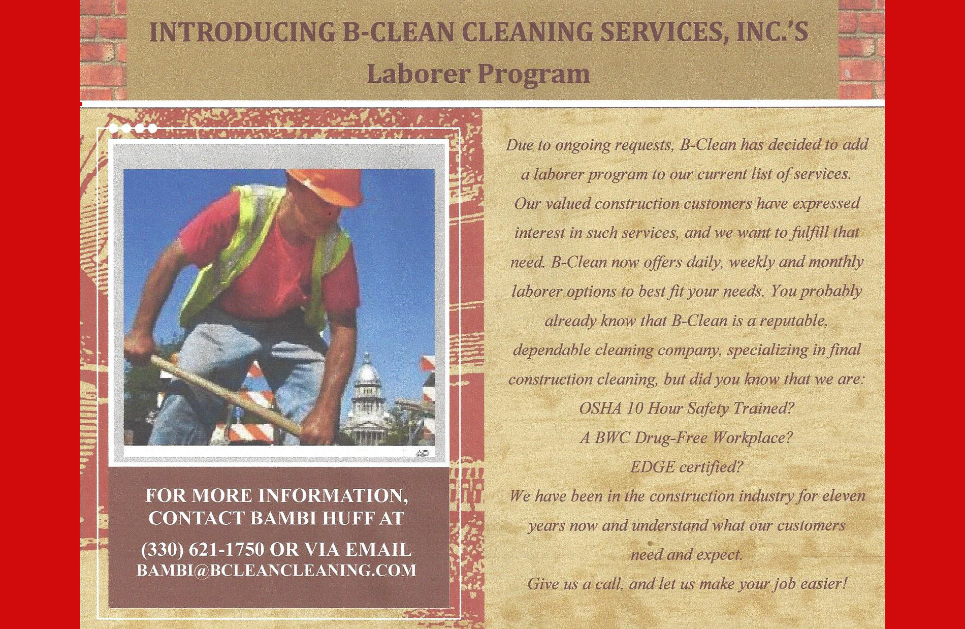 B-Clean Laborer Program 2